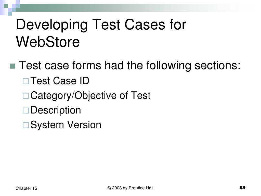 Developing Test Cases for WebStore