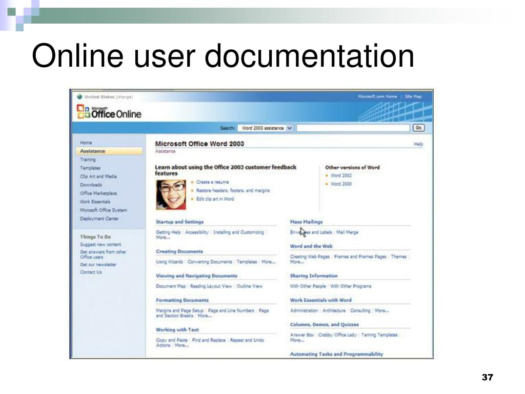 Online user documentation
