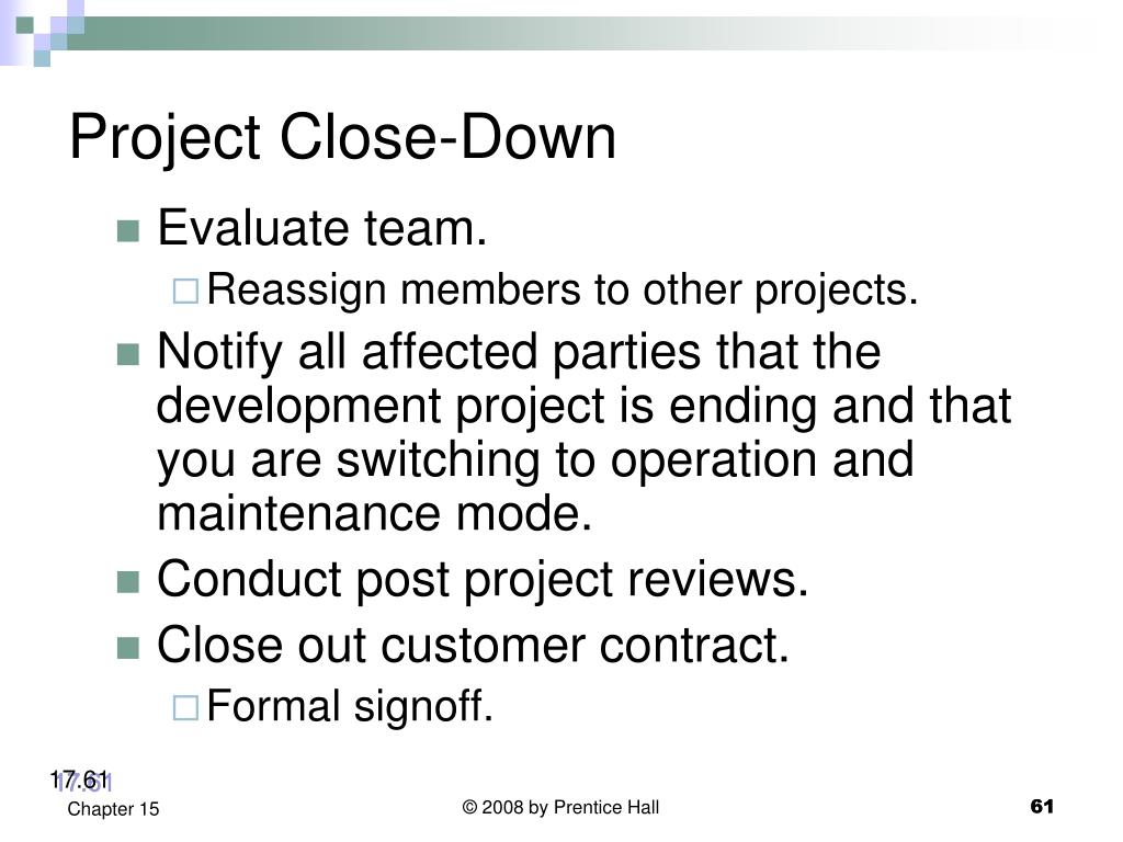 Project Close-Down