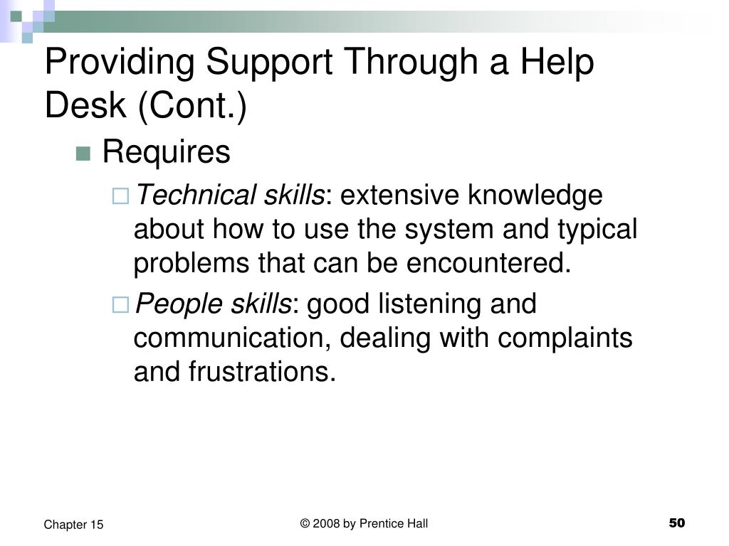 Providing Support Through a Help Desk (Cont.)