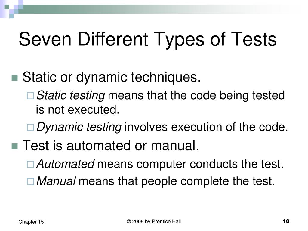 Seven Different Types of Tests