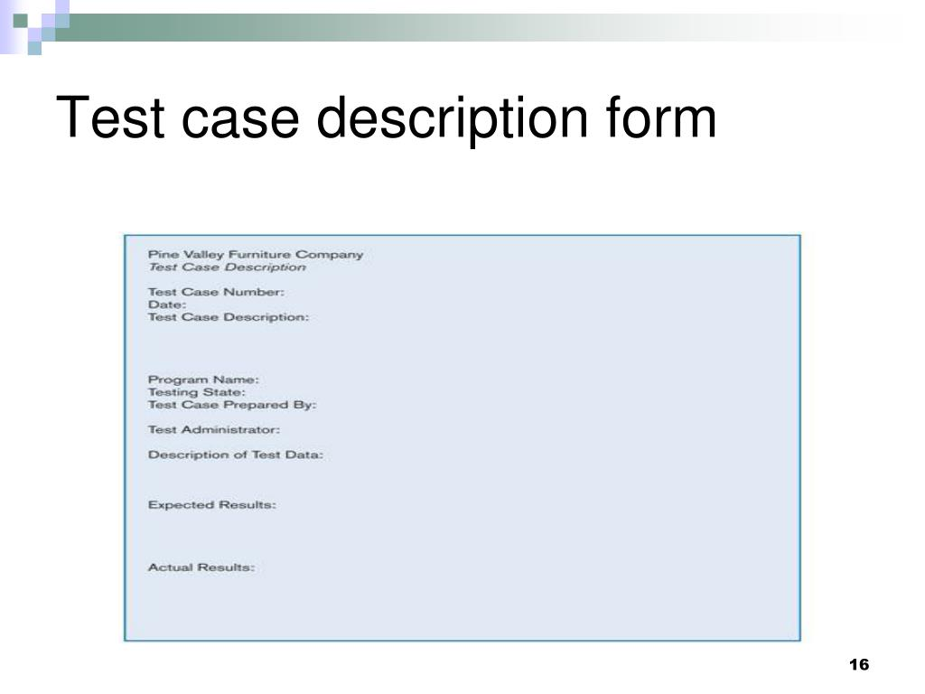 Test case description form
