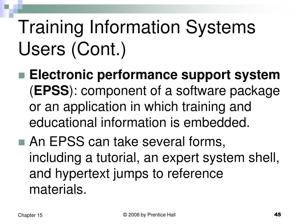 Training Information Systems Users (Cont.)
