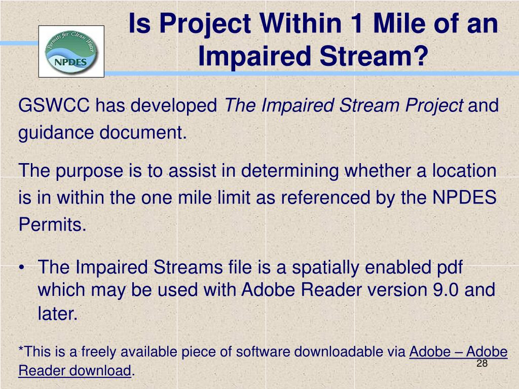Is Project Within 1 Mile of an Impaired Stream?