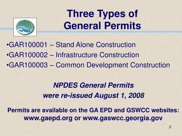 Three types of general permits l.jpg