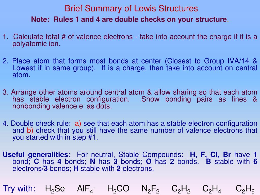 Brief Summary of Lewis Structures