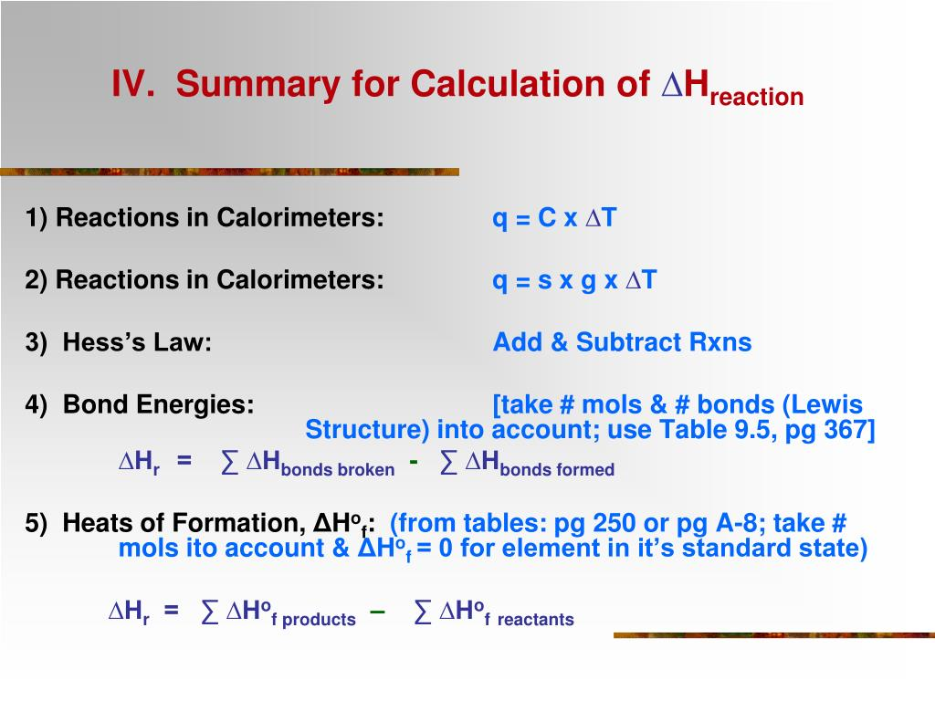 IV.  Summary for Calculation of