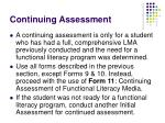 continuing assessment