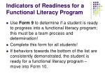 indicators of readiness for a functional literacy program