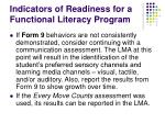 indicators of readiness for a functional literacy program43
