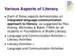 various aspects of literacy22