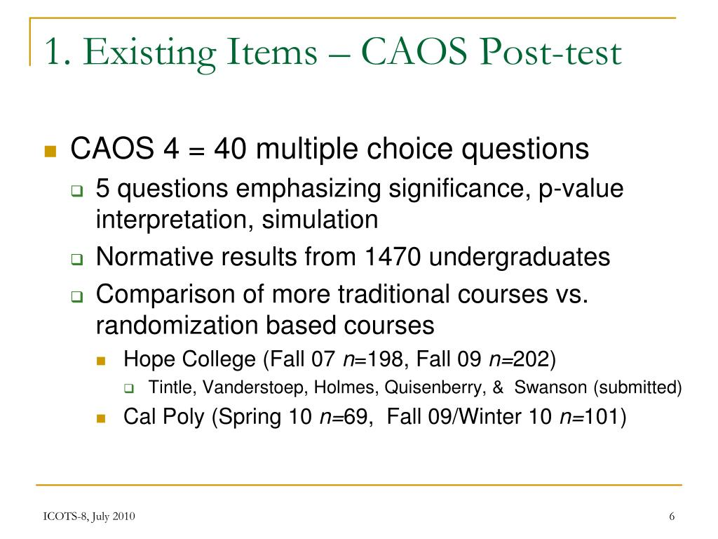1. Existing Items – CAOS Post-test
