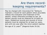 are there record keeping requirements