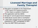 licensed marriage and family therapist