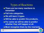 types of reactions29