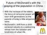 future of mcdonald s with the graying of the population in china