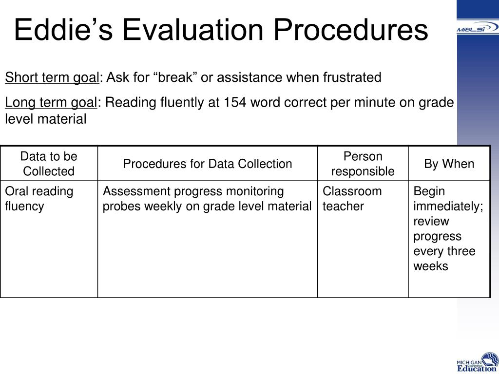 Eddie's Evaluation Procedures