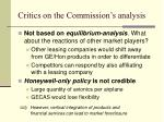 critics on the commission s analysis