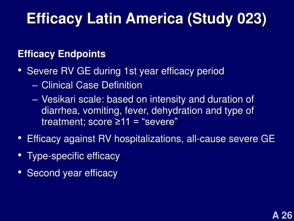 Efficacy Latin America (Study 023)