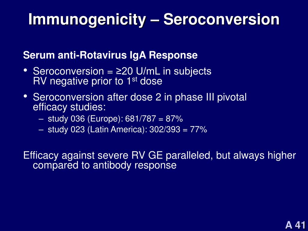 Immunogenicity – Seroconversion