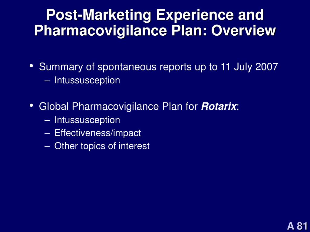 Post-Marketing Experience and Pharmacovigilance Plan: Overview