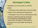 developer s role
