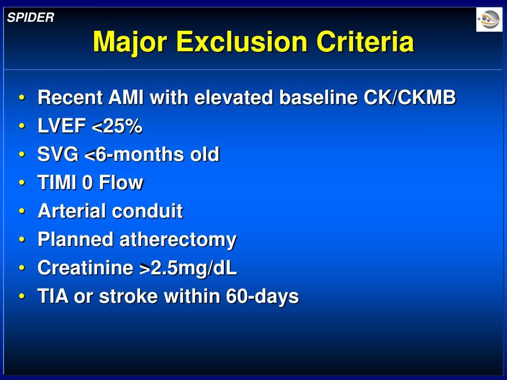 Major Exclusion Criteria