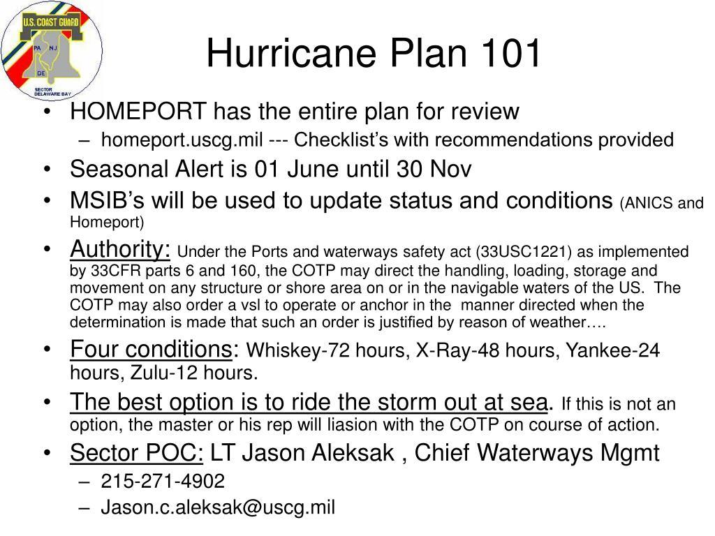 hurricane plan 101