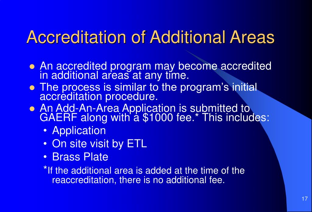 Accreditation of Additional Areas