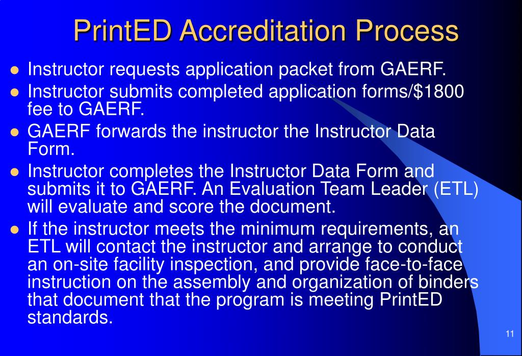 PrintED Accreditation Process