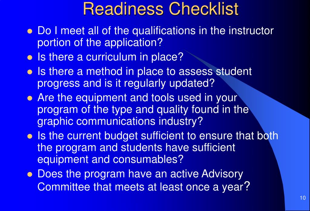 Readiness Checklist