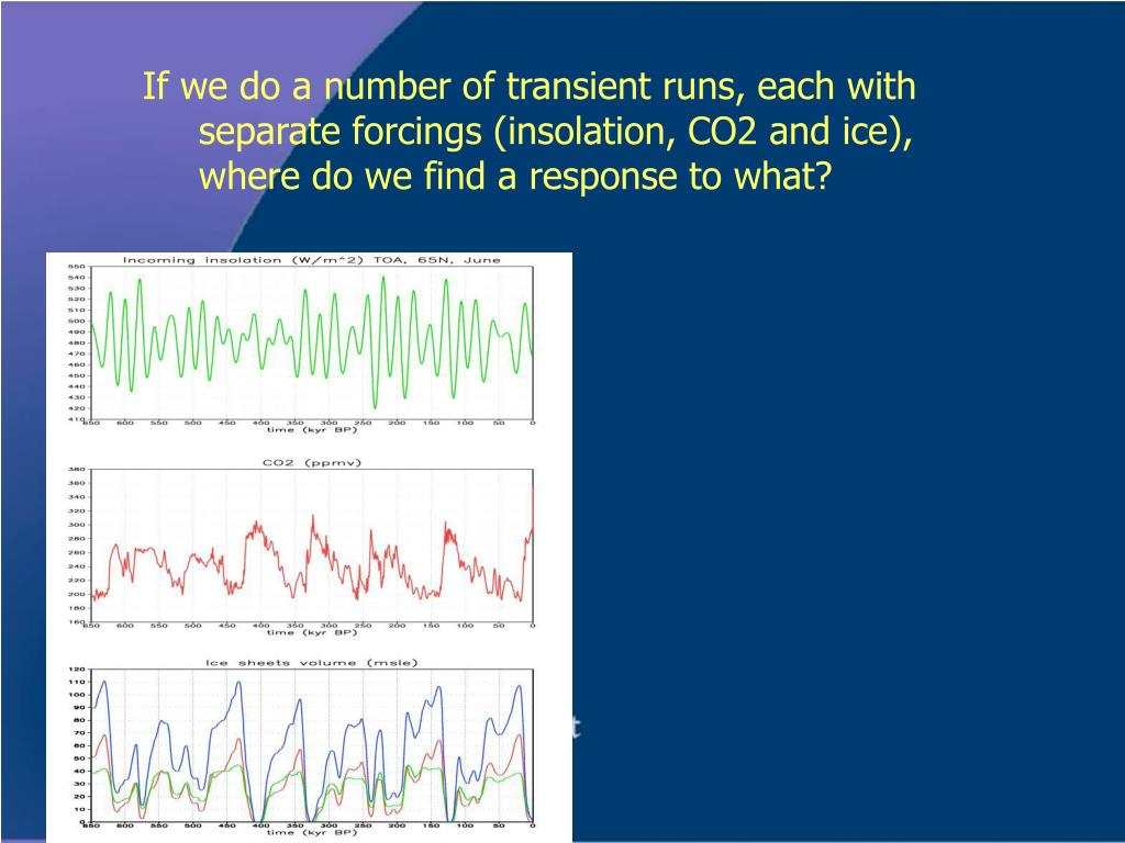 If we do a number of transient runs, each with separate forcings (insolation, CO2 and ice), where do we find a response to what?