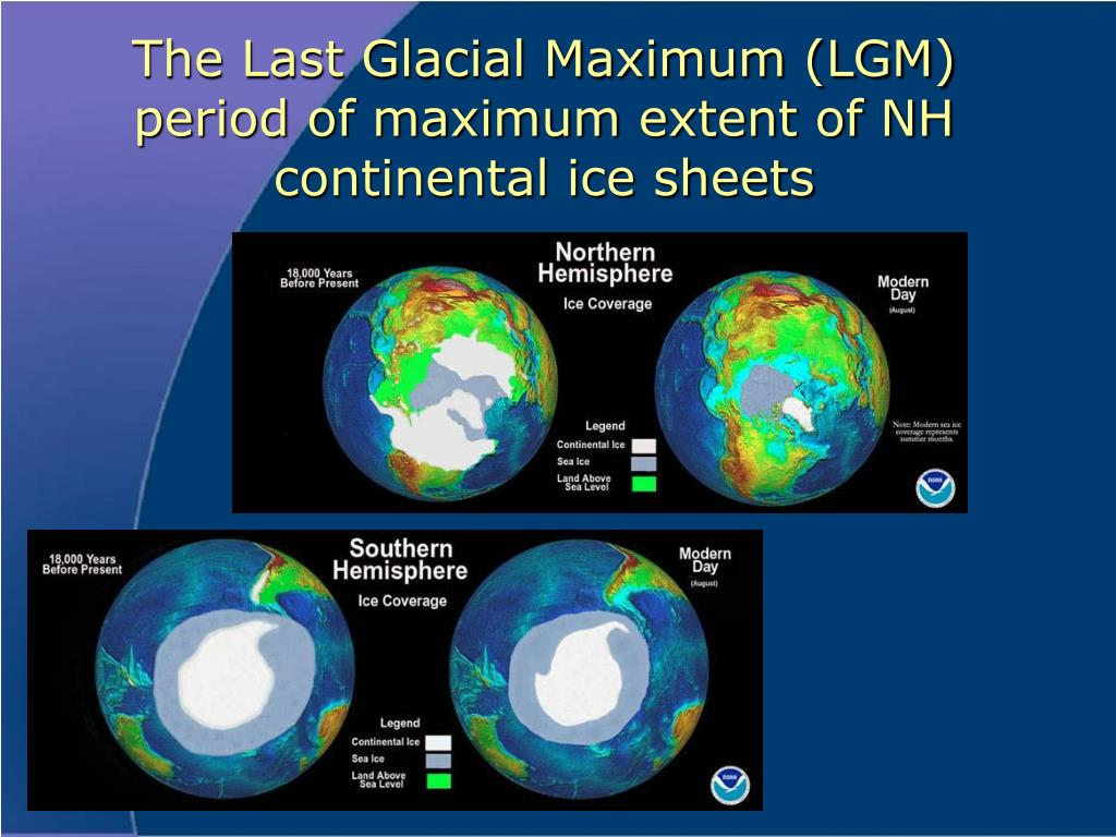 The Last Glacial Maximum (LGM) period of maximum extent of NH continental ice sheets