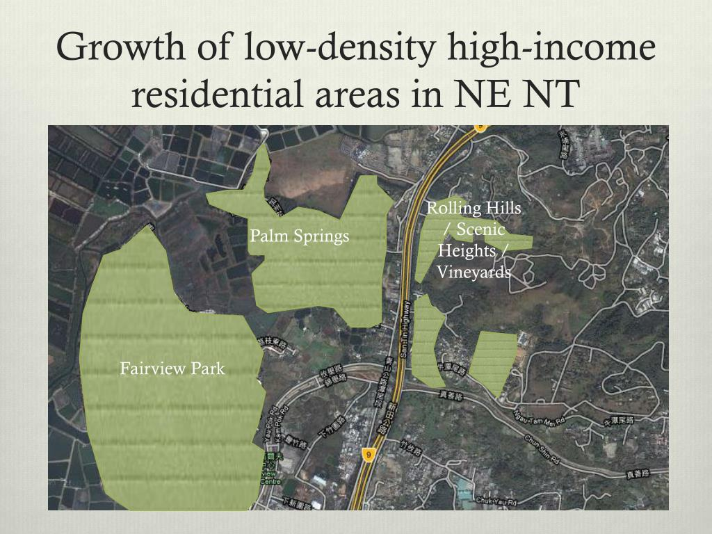 Growth of low-density high-income residential areas in NE NT