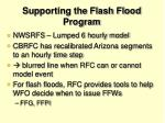 supporting the flash flood program