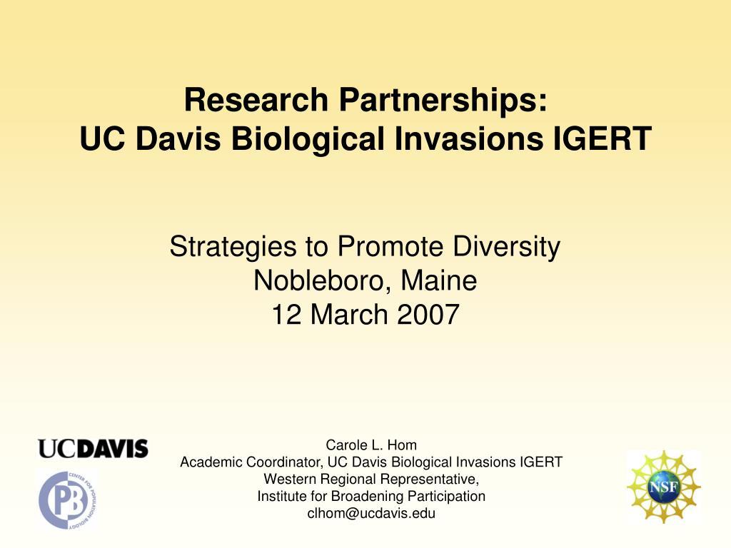 research partnerships uc davis biological invasions igert