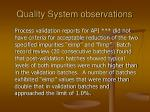 quality system observations10