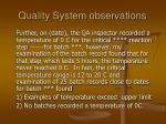 quality system observations12