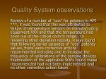 quality system observations16