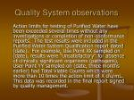 quality system observations17