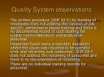 quality system observations18