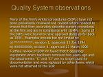 quality system observations5