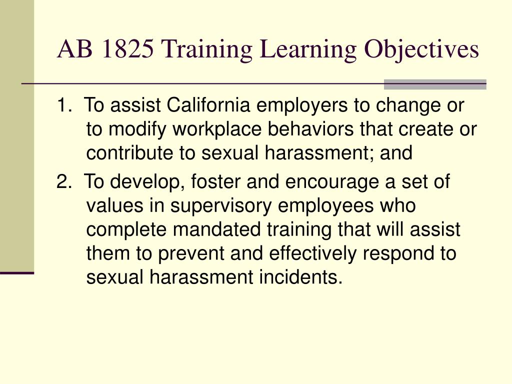 AB 1825 Training Learning Objectives