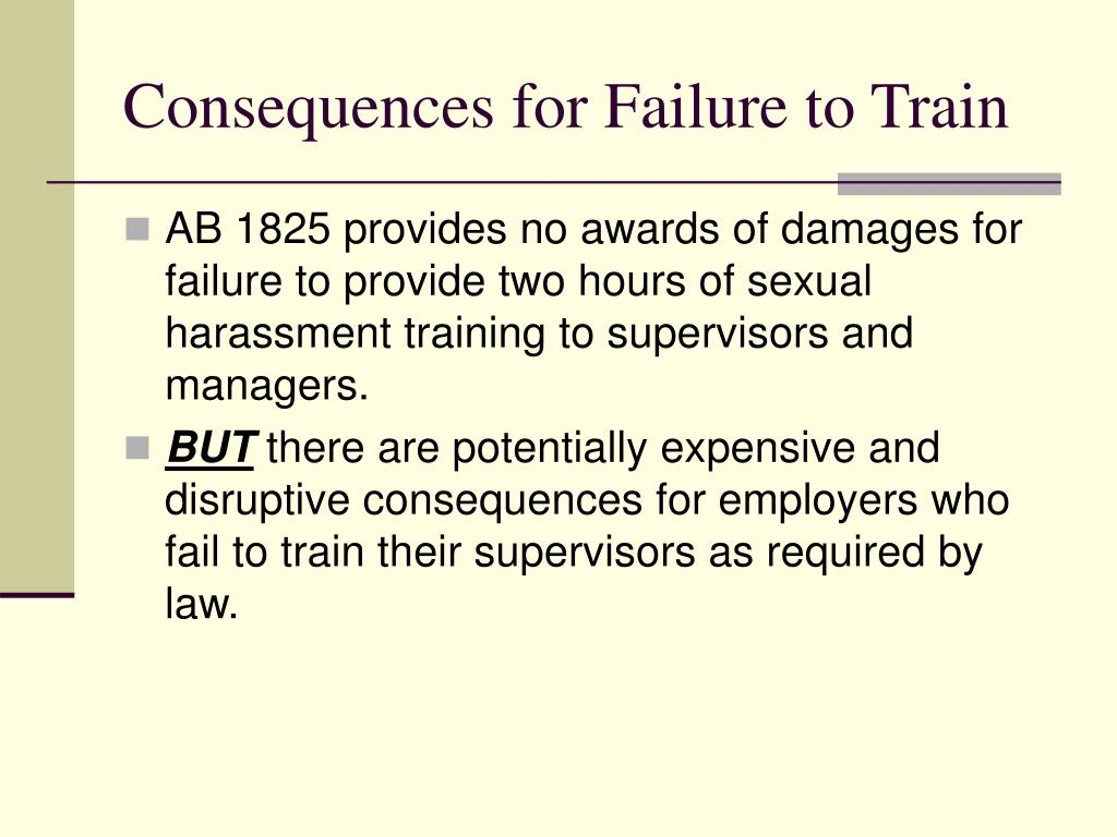 Consequences for Failure to Train