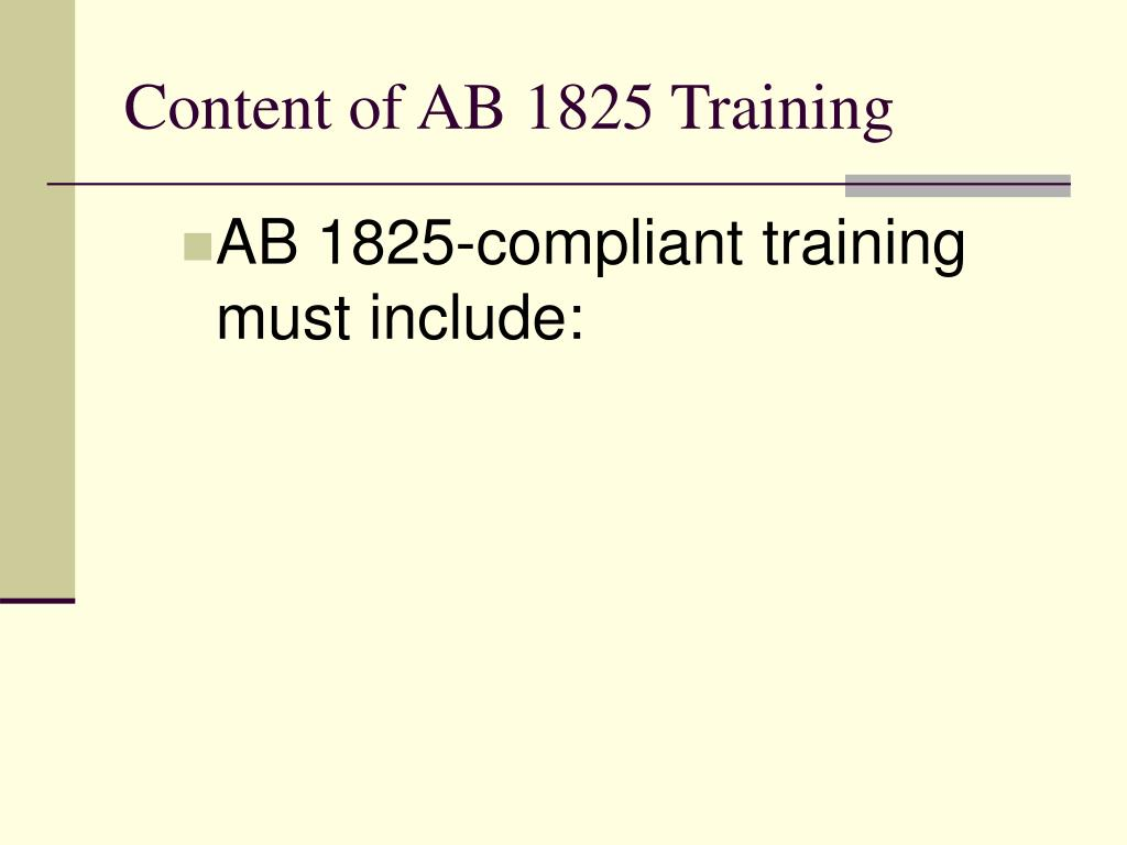 Content of AB 1825 Training