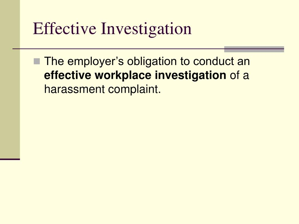 Effective Investigation