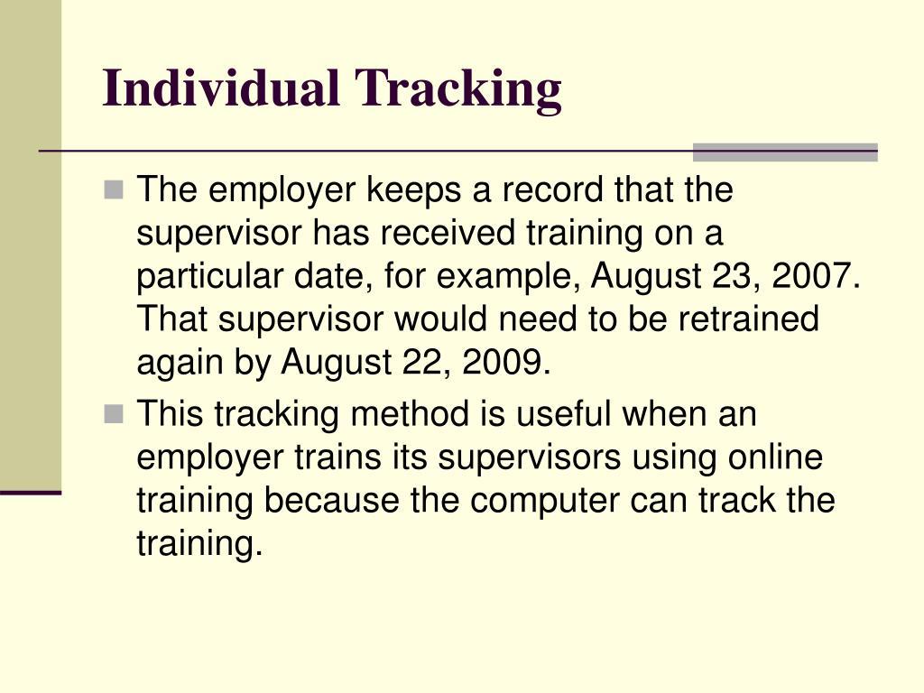 Individual Tracking