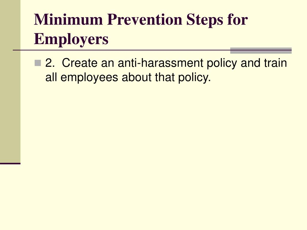 Minimum Prevention Steps for Employers