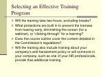 selecting an effective training program
