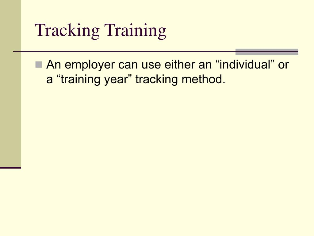 Tracking Training